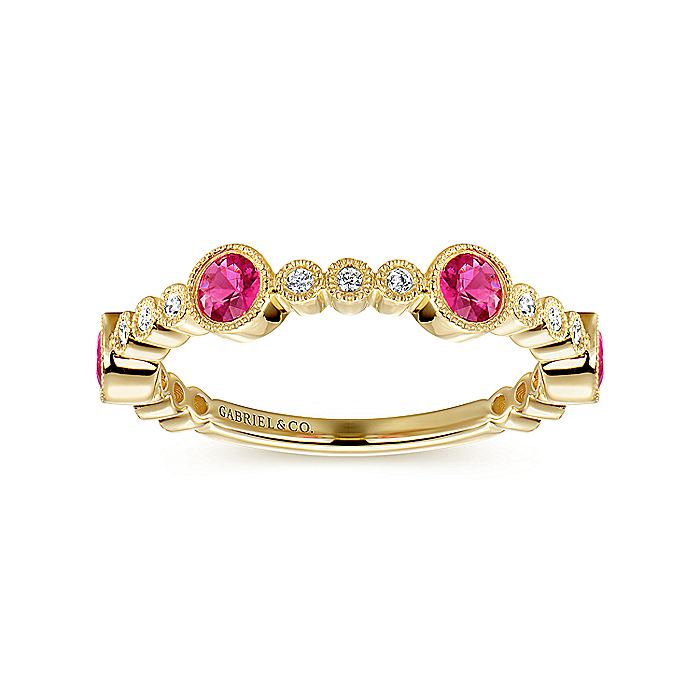 14k Yellow Gold Diamond and Ruby Stackable Ring