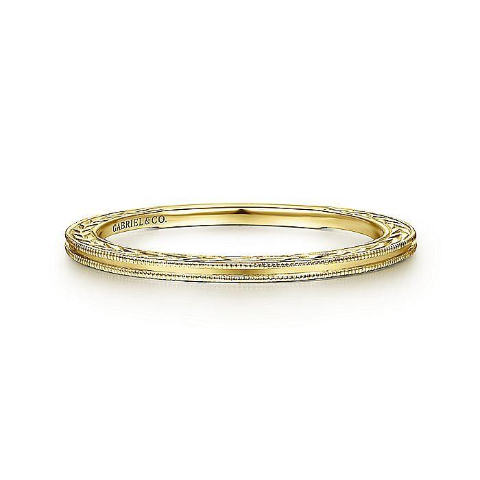 14k Yellow Gold Engraved Milgrain Slim Stackable Ring
