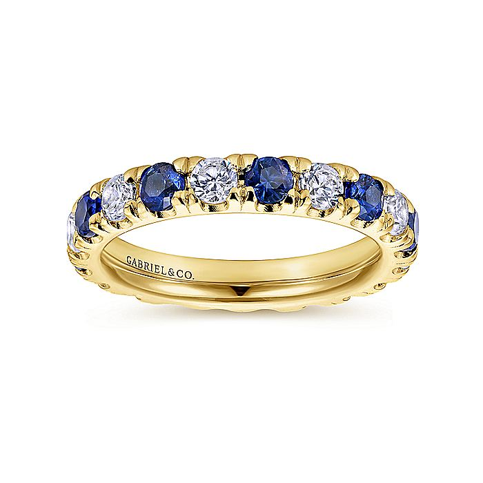 14k Yellow Gold French Pavé Set A Quality Sapphire and Diamond Eternity Band