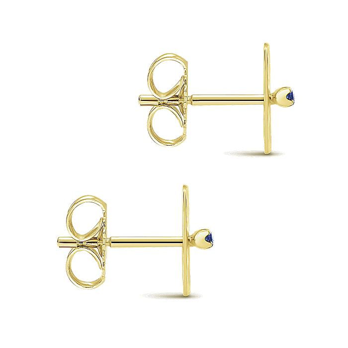 14k Yellow Gold Hammered Square Sapphire Bar Stud Earrings