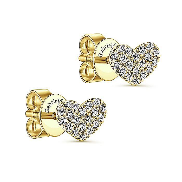 14k Yellow Gold Heart Shaped Pave Diamond Stud Earrings