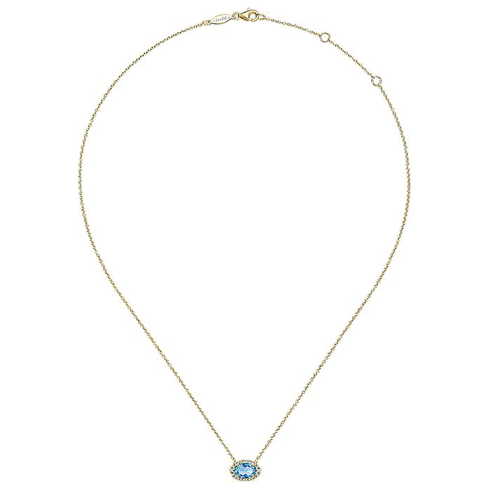 14k Yellow Gold Horizontal Oval Swiss Blue Topaz Diamond Halo Fashion Necklace
