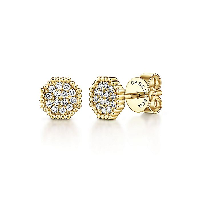 14k Yellow Gold Octagonal Pave Diamond Cluster Stud Earrings