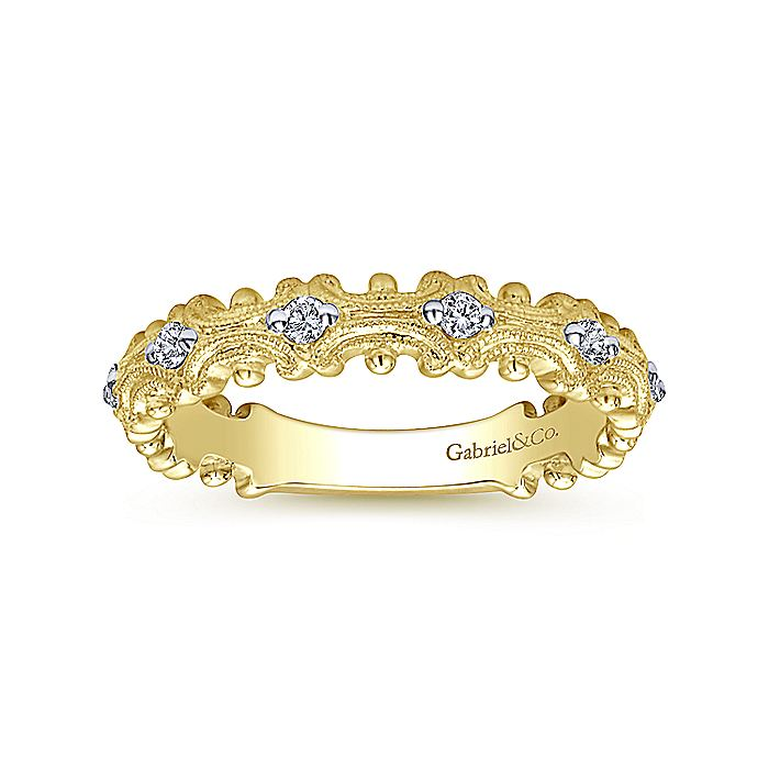 14k Yellow Gold Ornate Contoured Diamond Stackable Ring