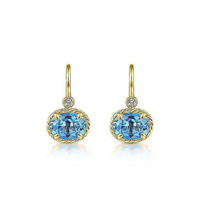 14k Yellow Gold Oval Swiss Blue Topaz & Diamond Drop Earrings