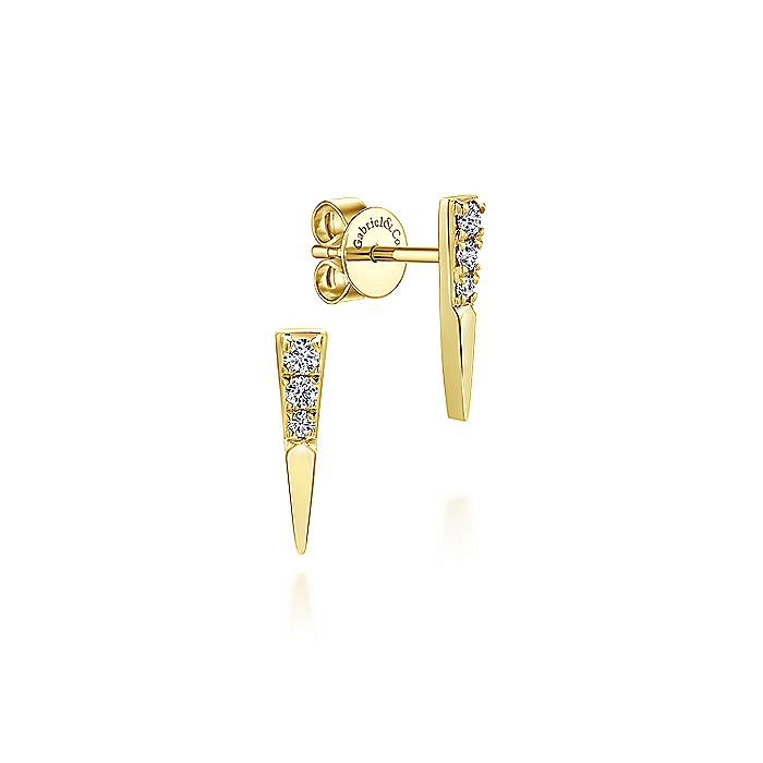 14k Yellow Gold Pave Diamond Ear Climber Earrings