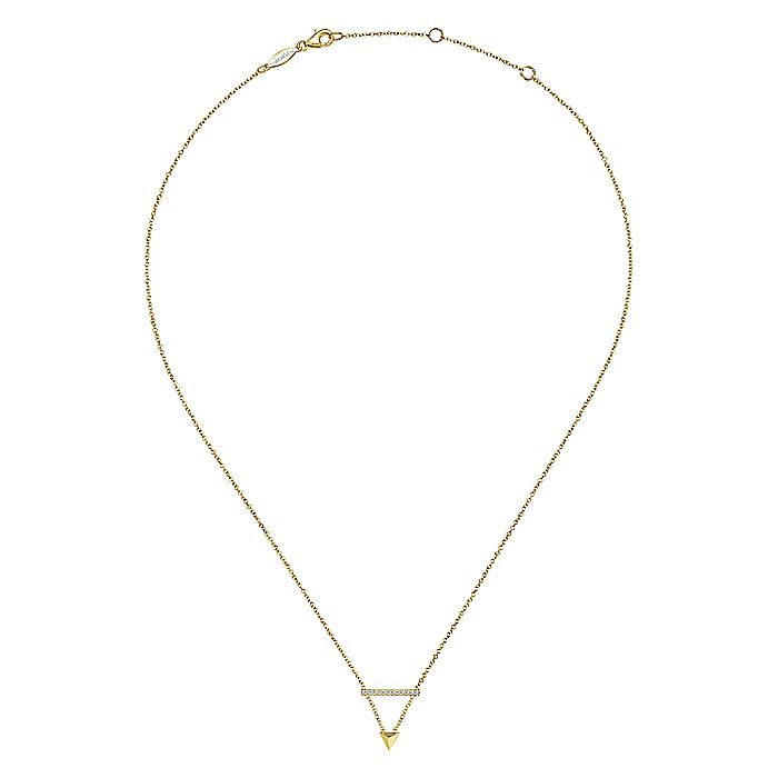 14k Yellow Gold Pyramid Diamond Bar Necklace