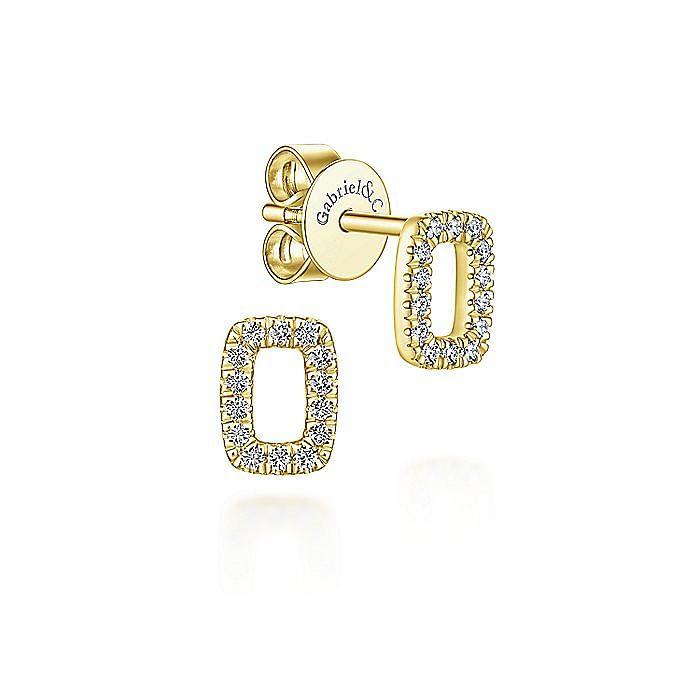 14k Yellow Gold Rectangular Open Pave Diamond Stud Earrings