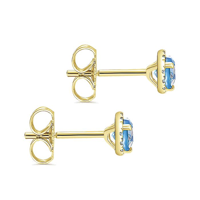 14k Yellow Gold Round Cut Diamond Halo & Swiss Blue Topaz Stud Earrings