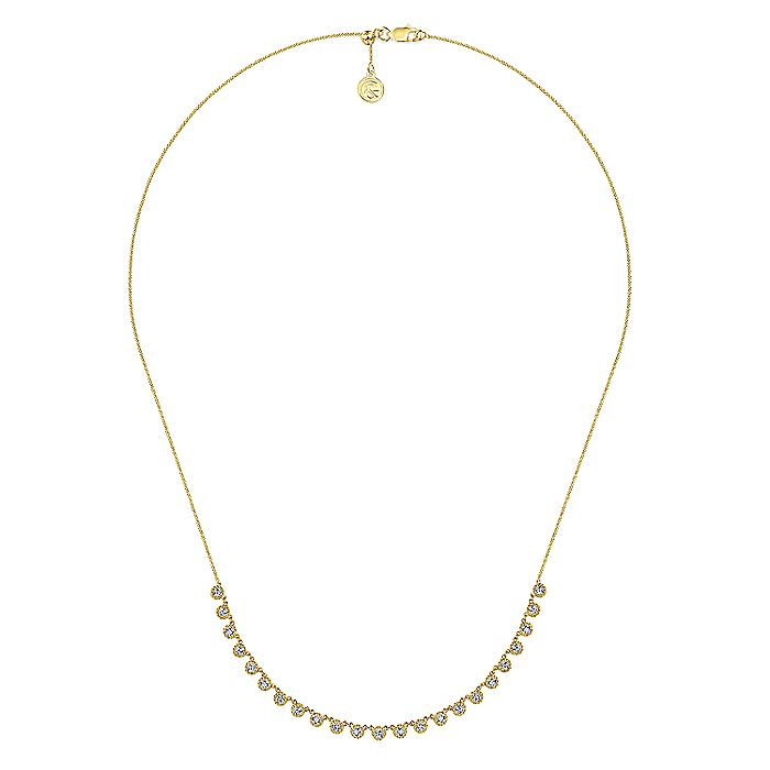 14k Yellow Gold Round Diamond Station Necklace