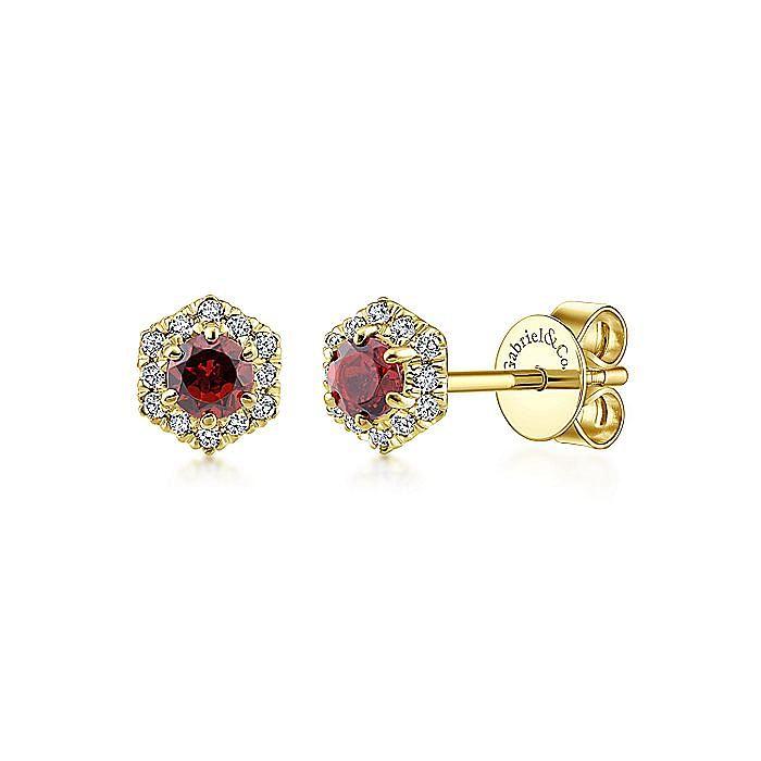 14k Yellow Gold Round Garnet & Hexagonal Diamond Halo Stud Earrings