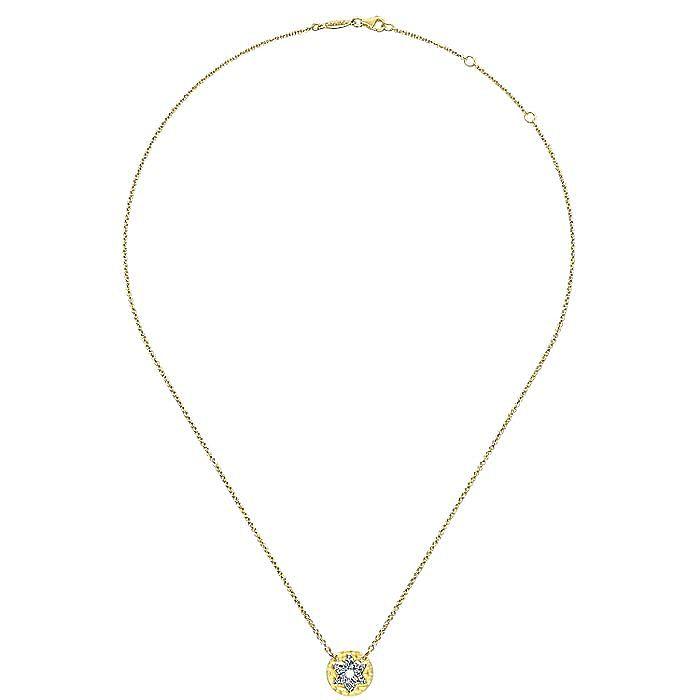 14k Yellow Gold Round Star of David Cutout Diamond Necklace