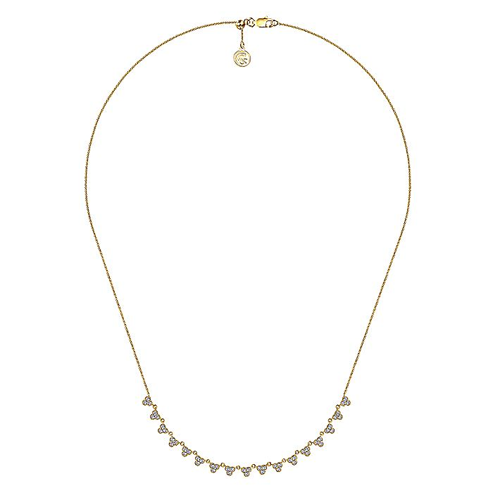 14k Yellow Gold Scalloped Diamond Choker Necklace