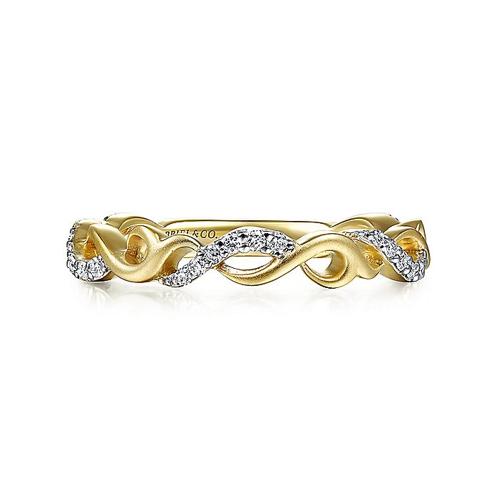 14k Yellow Gold Swirling Contoured Stackable Diamond Ring