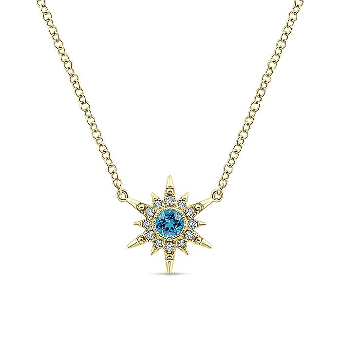 14k Yellow Gold Swiss Blue Topaz & Diamond Starburst Necklace