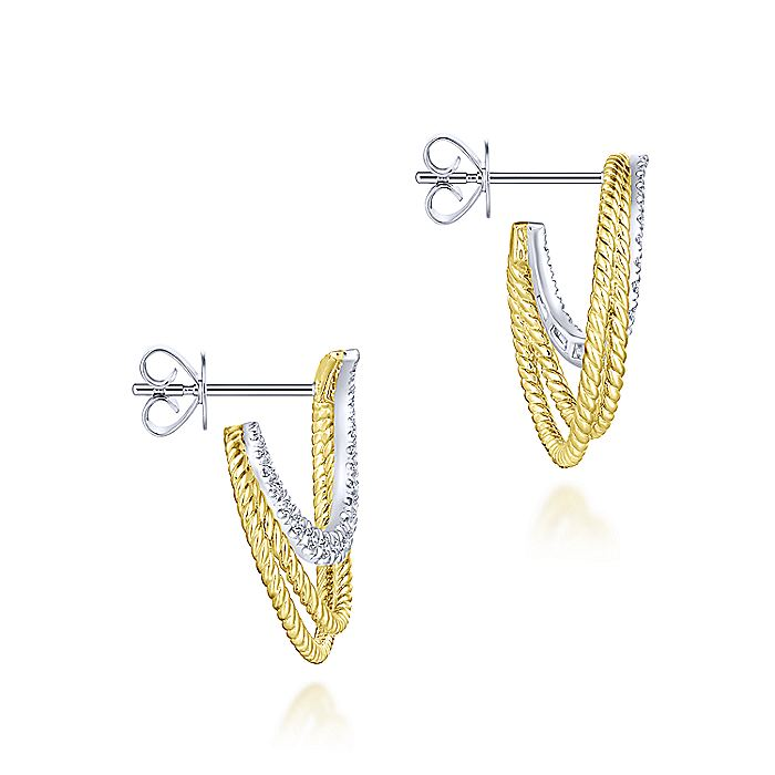 14k Yellow/White Gold Twisted Crescent Diamond Stud Earrings