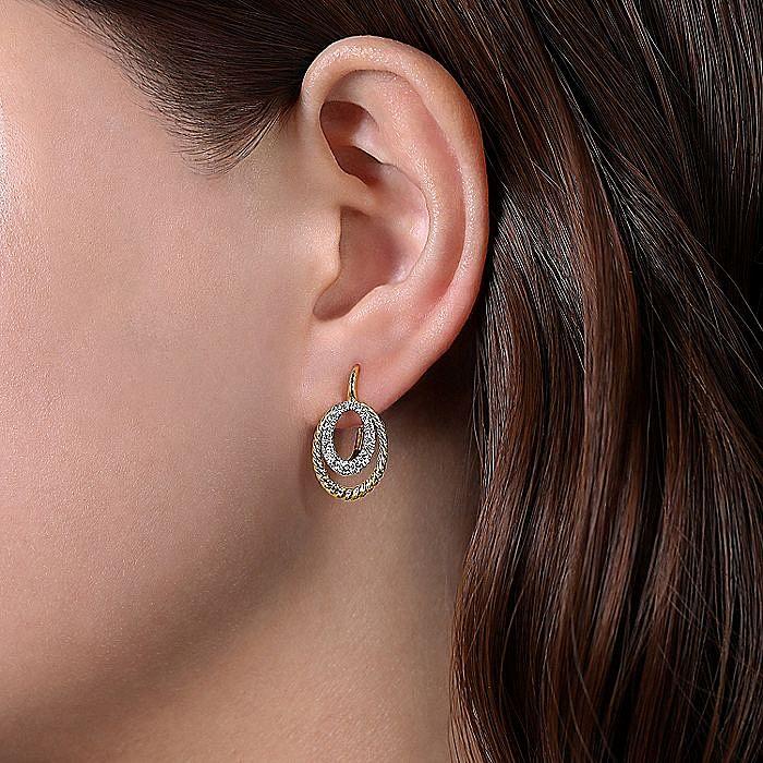 14k Yellow/White Gold Twisted Oval Diamond Drop Earrings