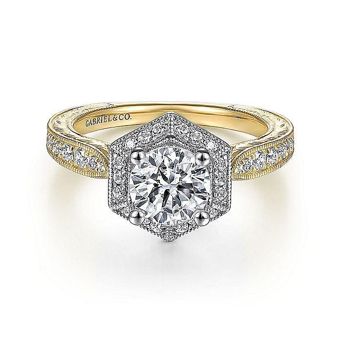 14k Yellow/White Gold Vintage Inspired Round Hexagonal Halo Engagement Ring