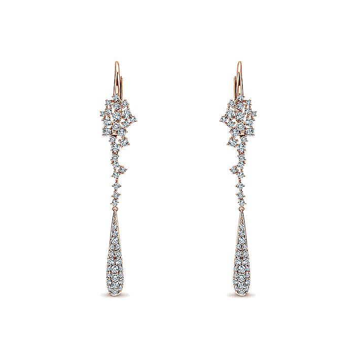 18K Rose Gold Constellation Linear Drop Diamond Earrings