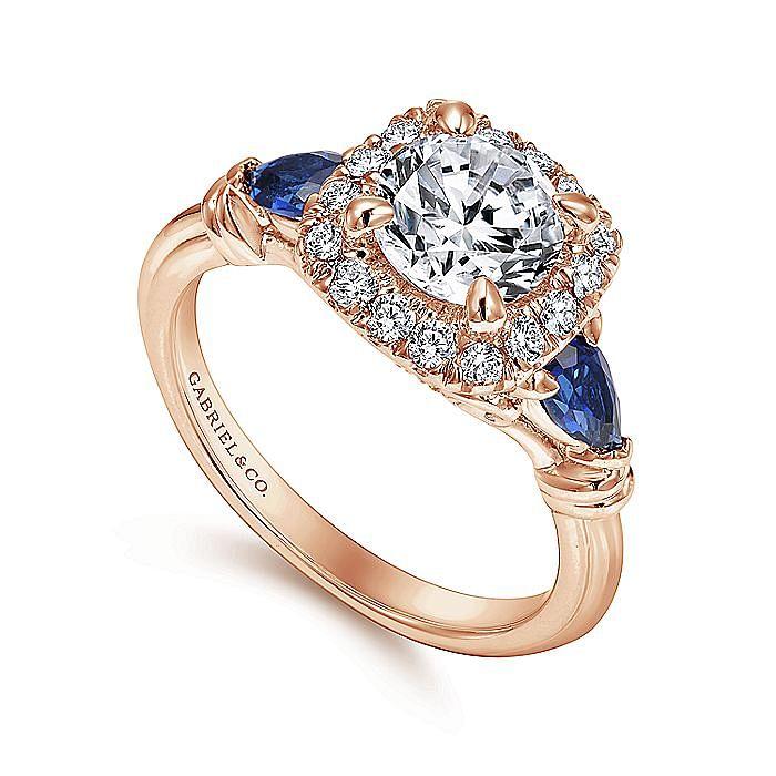 18K Rose Gold Cushion Three Stone Halo Round Sapphire and Diamond Engagement Ring