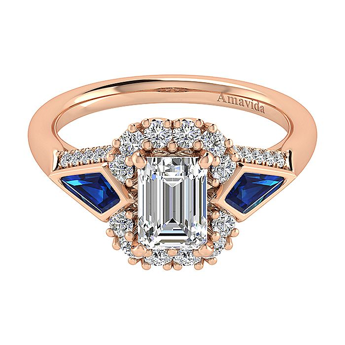 18K Rose Gold Halo Emerald Cut Sapphire and Diamond Engagement Ring