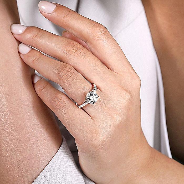 18K Rose Gold Hidden Halo Round Diamond Engagement Ring