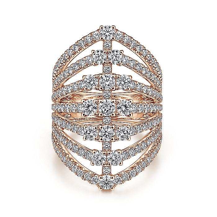 18K Rose Gold Layered Diamond Fan Wide Band Ring