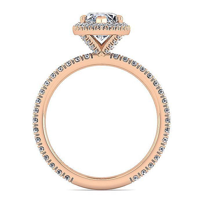18K Rose Gold Marquise Halo Diamond Engagement Ring