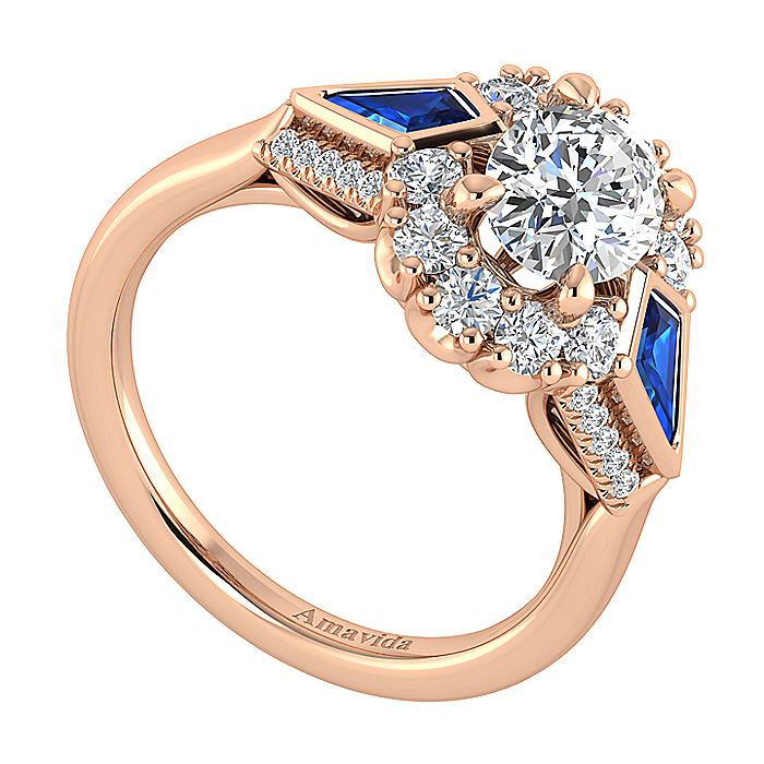 18K Rose Gold Oval Halo Sapphire and Diamond Engagement Ring