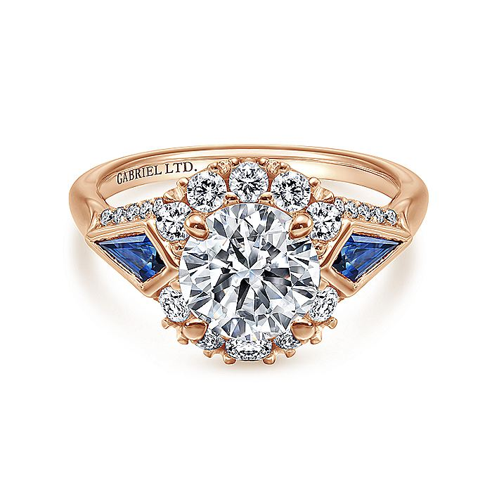 18K Rose Gold Round Halo Sapphire and Diamond Engagement Ring