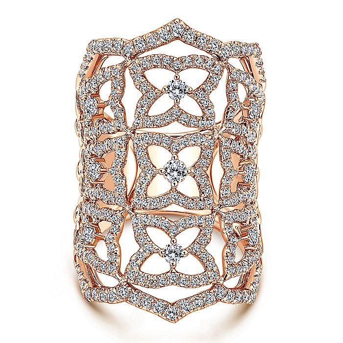 18K Rose Gold Wide Band Openwork Floral Pavé Diamond Armor Ring
