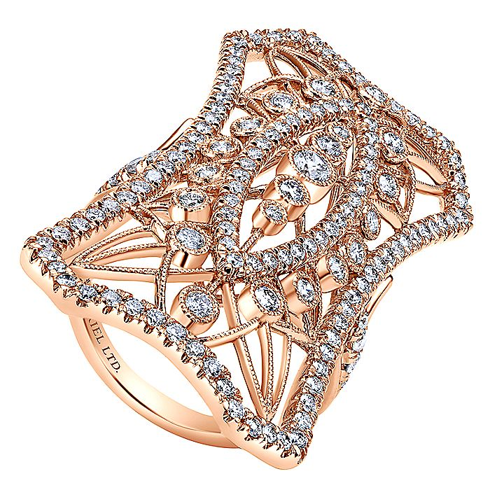 18K Rose Gold Wide Band Openwork Pavé Diamond Armor Ring
