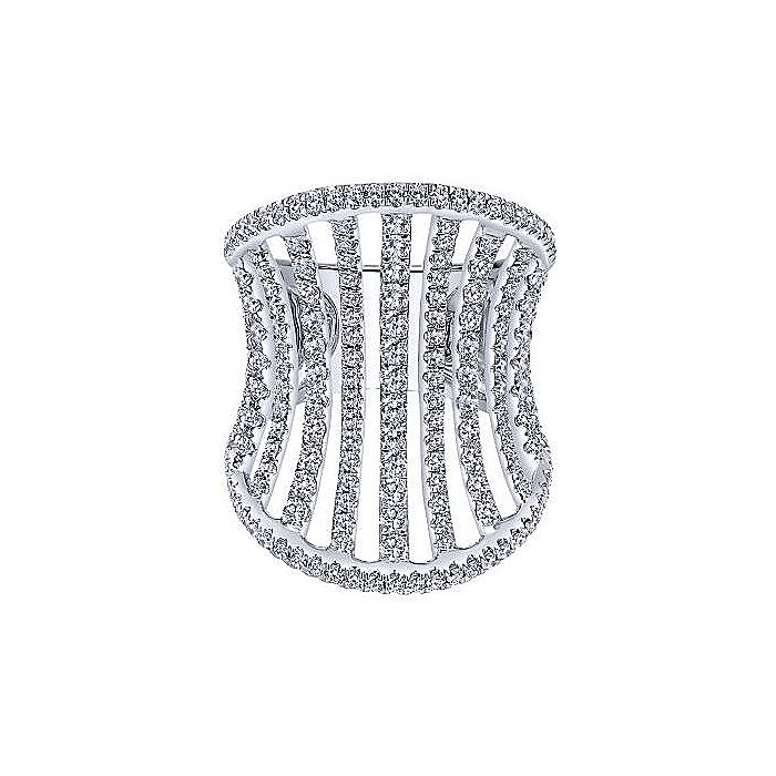 18K Rose Gold Wide Diamond Cage Ring