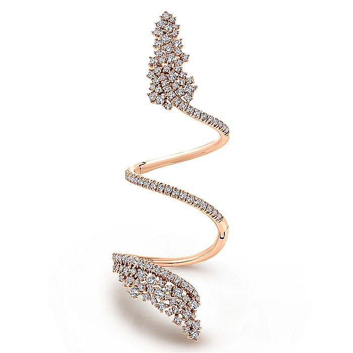 18K Rose Gold Wide Diamond Cluster Statement Wrap Ring