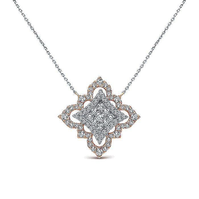 18K Rose-White Gold Pavé Diamond Floral Pendant Necklace