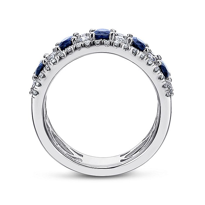 18K White Gold Alternating Diamond and Sapphire Ring