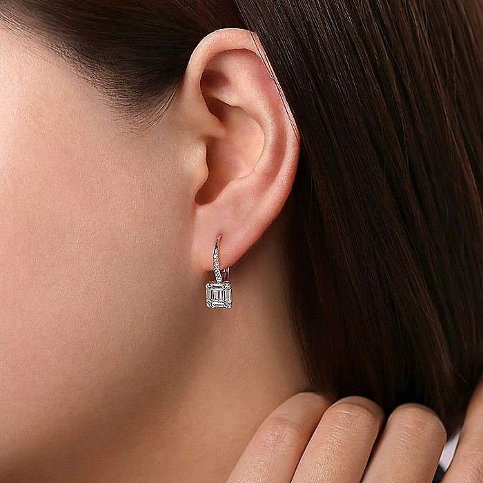 18K White Gold Baguette and Round Diamond Leverback Earrings