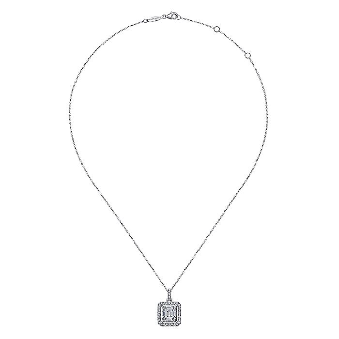 18K White Gold Baguette and Round Diamond Square Pendant Necklace