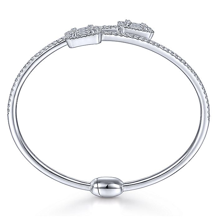 18K White Gold Bypass Bangle with Baguette and Round Diamonds