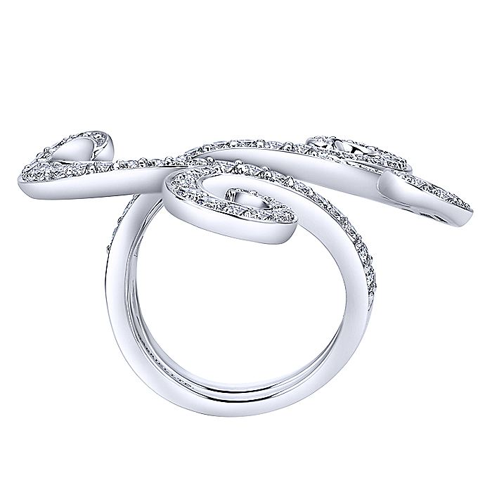 18K White Gold Bypass Diamond Loop Ring