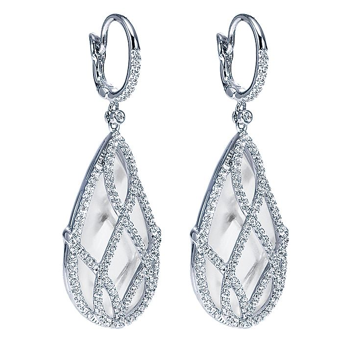 18K White Gold Caged Rock Crystal Teardrop Diamond Earrings