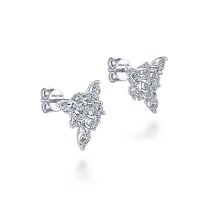 18K White Gold Cluster Diamond Stud Earrings