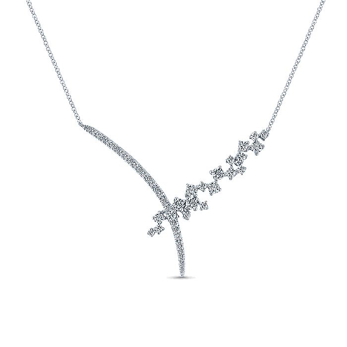 18K White Gold Criss Crossing Diamond Cluster Lariat Necklace