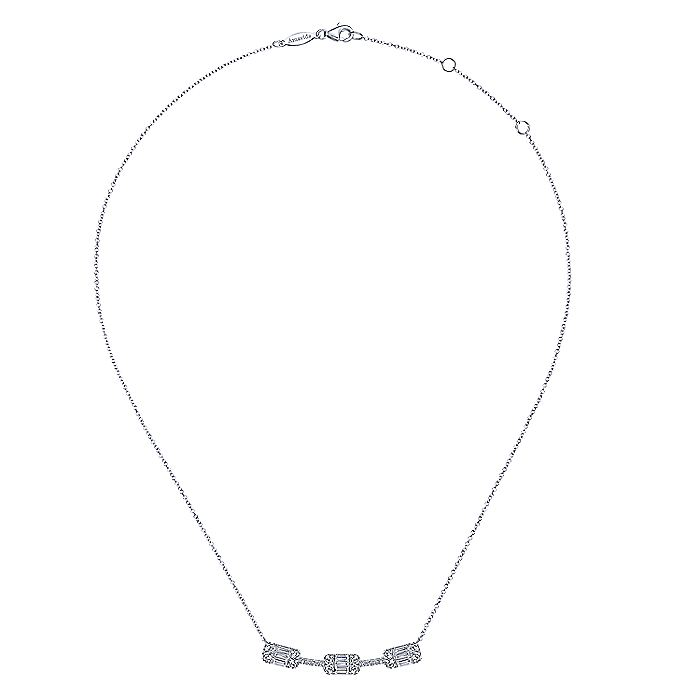 18K White Gold Curved Bar Necklace with Baguette and Round Diamond Stations