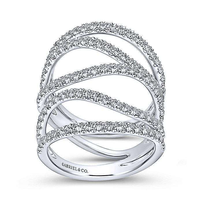 18K White Gold Curving Layered Wide Band Diamond Ring