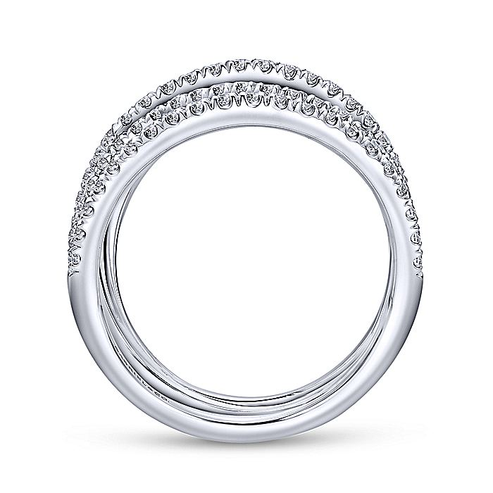 18K White Gold Curving Layered Wide Band Ring