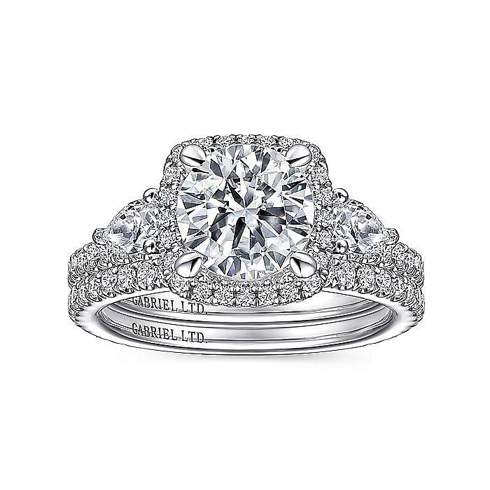 18K White Gold Cushion Halo Round Three Stone Diamond Engagement Ring