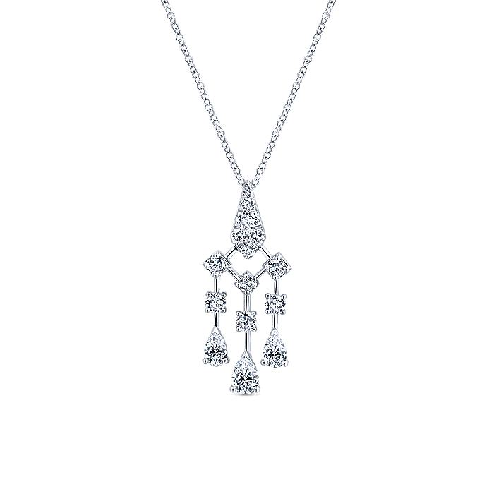18K White Gold Dangling Diamond Pendant Necklace