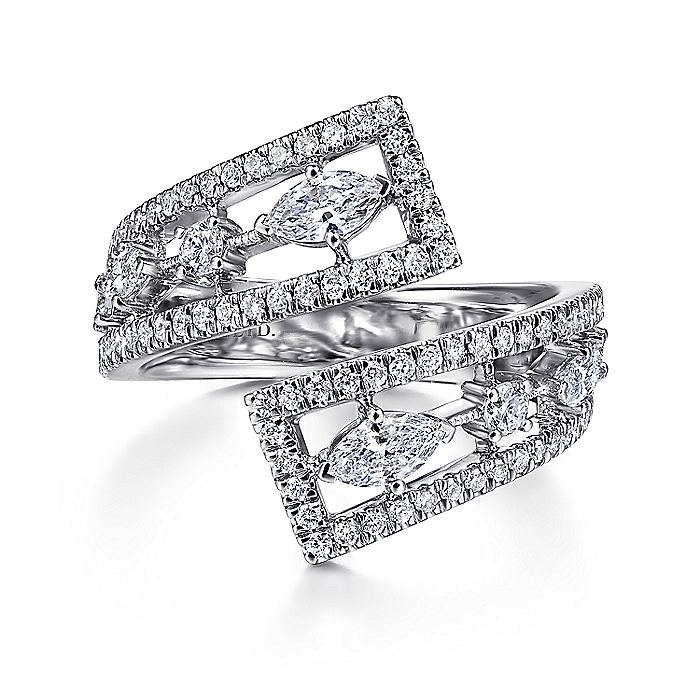 18K White Gold Diamond Bypass Open Ring
