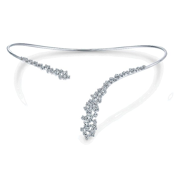 18K White Gold Diamond Cluster Open Choker Necklace